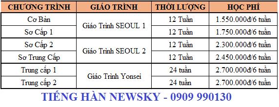 Học phí các Khóa Học tiếng Hàn tại NewSky