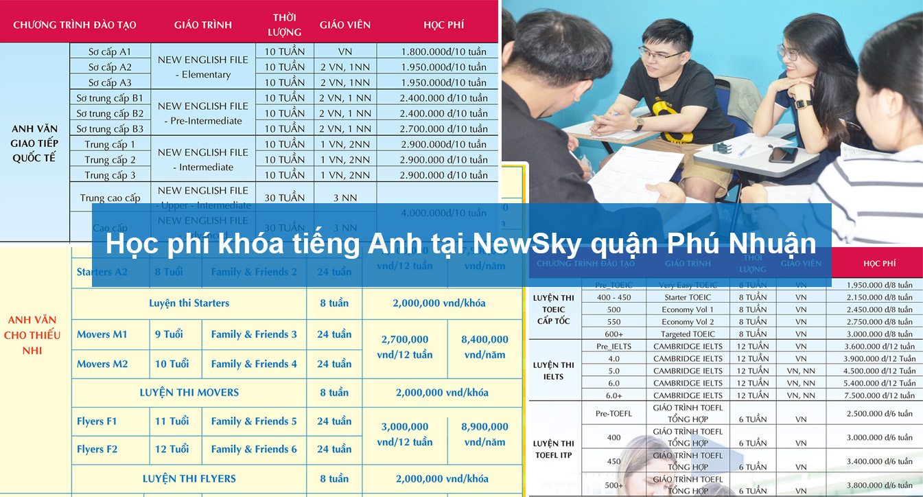 Học phí khóa tiếng Anh tại NewSky quận Phú Nhuận