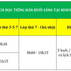 Lịch học tiếng Hàn buổi Sáng
