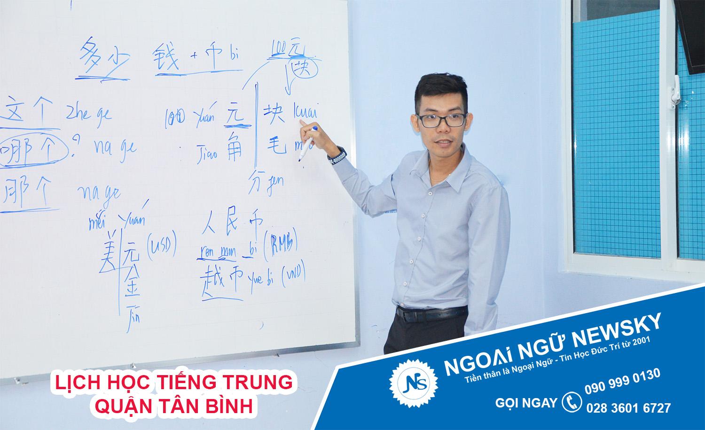 Lịch học tiếng Trung quận Tân Bình
